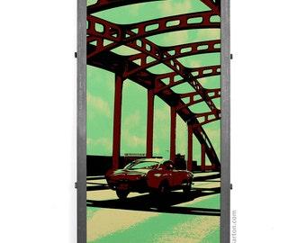 Howard St. Bridge w/ Volvo Framed Silkscreen Print, Baltimore, MD