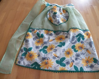 Vintage 1950 Cotton and Organdy HandMade Apron with Vibrant Floral Print