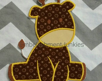 Large brown giraffe -Iron on embroidered fabric applique patch embellishment-