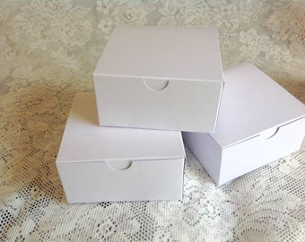 10 White Glossy Gift Boxes - 4x4x2 party favor box Bridal shower Rustic Wedding
