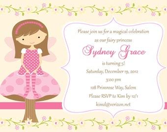 Fairy Birthday Invitation  - Digital File / Fairy Invitation / Fairy Party Invitation / Pink Fairy Invitation / Fairy Birthday Party