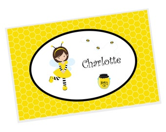 Honey Bee Personalized Placemat - Honey Bee Girl Yellow Honey Comb with Name, Customized Laminated Placemat