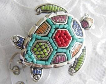 Rainbow turtle Sea turtle Crystal art designer Badge reel retractable ID Badge Holder