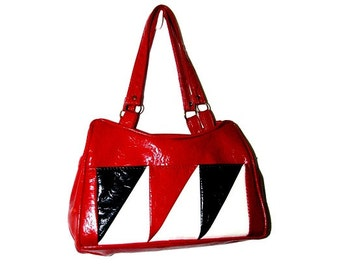 Vintage 60s 70s SWAFFORD ORIGINALS Red White & Blue Color Block Vinyl Satchel Bag