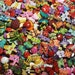 """60 Assorted Rainbow Colored Insect Sewing Buttons - grab bag of bulk bug buttons, multi sizes 1/4"""" up to 1-1/4"""", lots of variety"""