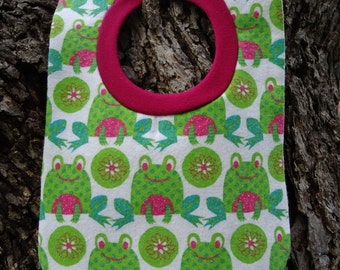 Frogs Pull Over Baby Girl Bib