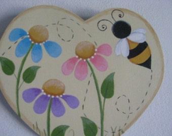 Summertime, Heart, bee, flowers, wall hanging, handpainted, summer, heart