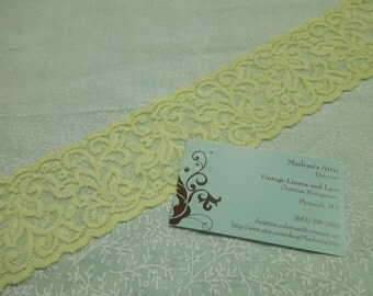 1 yard of 2 1/2 inch Pale Yellow Stretch Elastic lace trim for bridal, baby headband, lingerie, garter, hair acc by MarlenesAttic - Item 5D