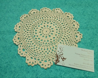 Vintage 8 inch Ivory Hand Crochet doily for housewares, home decor, pillows, christmas, holiday, bags by MarlenesAttic