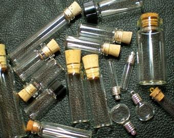 5 Random Glass Bottles Grab Bag Miniature, tiny, Potion, Vials. DIY Pendants.