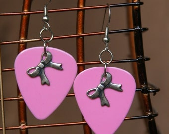 Light Pink Guitar Pick Earrings with Ribbon Charms