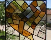 Stained Glass Patchwork Heart Panel in Amber
