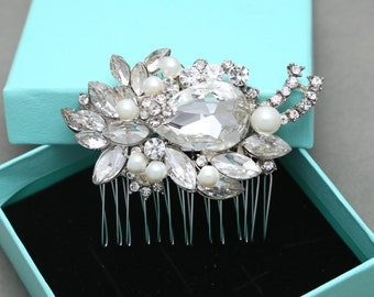 Bridal Hair Comb, Wedding Hair Comb, Large Rhinestone Marquise Crystals Hair Comb, Swarovski/Freshwater Pearl Hair Comb, Alligator Clip