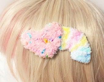 Kawaii Fairy Kei Spank Pop Kei Decora Lolita Harajuku Pastel Goth Shooting Heart Rainbow Fuzzy Hair Clip Brooch