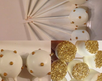 Edible wedding favors Gold Wedding Cake Pops ,Cake Balls  , Marshmallow dipped Or Any Occasion