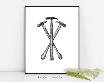 Vintage Hammers Art - THREE HAMMERS - Instant Download - printable antique tool illustration for use on totes, pillows, aprons, cards etc.