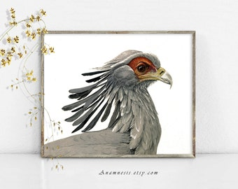 SECRETARY BIRD Art Print - Instant Digital Download - printable antique bird illustration for framing, jewelry, pottery, totes, card, tags