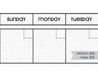 WHITE LINEN Dry Erase Perpetual Calendar Magnet Set -- Choose Your Font. Frame not included.