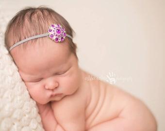 Baby Headband, Infant Headband, Rhinestone Headband- Purple Rhinestone Baby Headband
