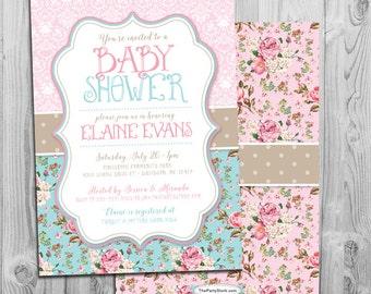 shabby chic baby shower invites | etsy, Baby shower invitations