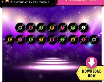 Rockstar Dance Party Banner   Printable Birthday Party Decorations   Girl   Instant Download
