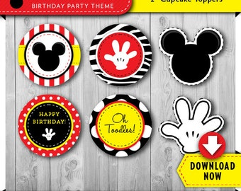 Mickey Mouse Inspired Cupcake Toppers | Printable Circles | Party Decorations | Cake Decor | Instant Download