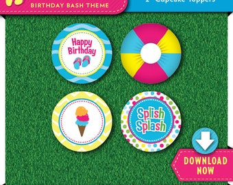 Pool Party Cupcake Toppers   Printable Circles   Party Decorations   Cake Decor   Instant Download