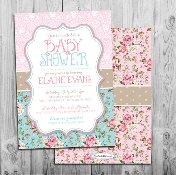 Shabby chic baby shower invite floral digital gender neutral il570xn filmwisefo