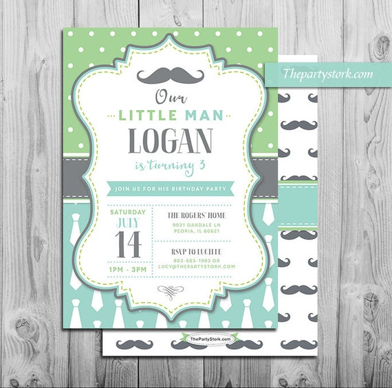Mustache Birthday Party Invitation Printable Invite for Boys