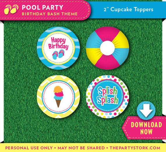 Pool Party Cupcake Toppers Printable Circles Party