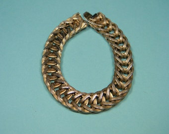 80s  Gold Tone and Silver Tone Weave Bracelet, Classic Minimalist