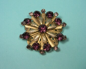 Classic Purple Rhinestone Brooch, Elegant Vintage, Starburst, Gold Tone