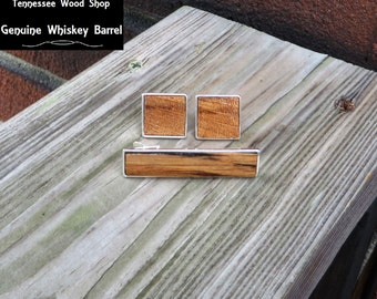 Solid 925 Sterling Silver Tie Bar and Cufflinks Gift Set with Tennessee Whiskey Barrel Wood Inlay Handmade