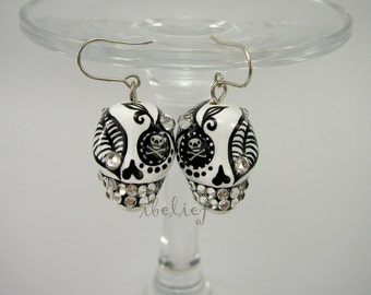 Skull the day of the dead skulls white earrings stone