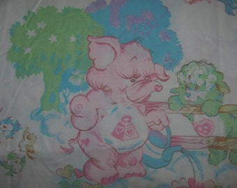 Vintage Care Bears Cousins Twin Flat Sheet/Material - Brave Heart Lion, Bright Heart Raccoon - Retro Fabric - American Greetings Corp.