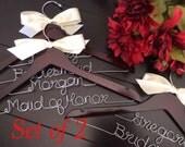Set of 2 W eddying dress hanger, Personalized Hanger, Custom Bridal Hangers,Bridesmaids gift, Wedding hangers with names,Custom made hangers