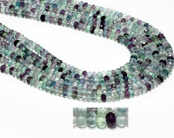 "GB-1150 - Rainbow Fluorite Beads - Faceted Rondelles - 4x6mm Gemstone Beads - 16"" Strand"