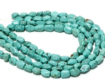 "GU-2465 - Turquoise Magnesite Cut Nuggets - Approx.10X15mm - 16"" Strand"