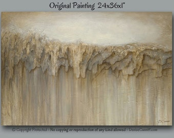 Textured abstract painting, Large canvas wall art, Neutral home decor, BEIGE wall art, Office, Bedroom, Dining room artwork