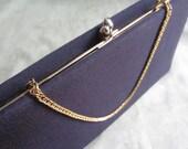 Vintage hand bag black fabric evening bag clutch or strap
