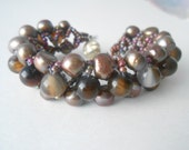 Brown Beauty- Freshwater Pearl and Natural Agate Seed Bead Woven Bracelet with Magnetic Clasp