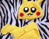 Pikachu costume or photo prop (0 to 6 Months pattern)