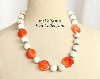Statement necklace with dragon vein orange fiery crab agate, white howlite turquoise stones, slightly asymmetrical large modern necklace
