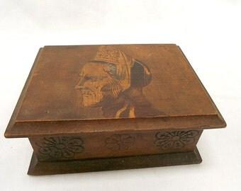French Vintage Brittany Carved Wood Bretonne Souvenir Trinket Box (B172)