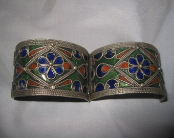 vintage bracelet Morocco Berbers tribal enamel silver Height 3.8cm 6 cm condition in the image