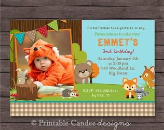 Forest Friends Woodland Birthday Invitation - DIY Custom Printable