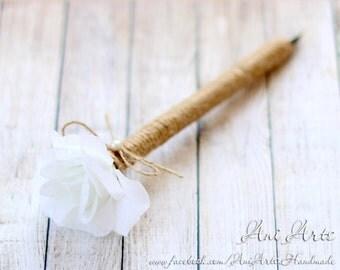 Rustic Wedding Guestbook Pen Burlap Pen for Guest Book Cottage Wedding Guestbook Pen Rustic Guest Book pen