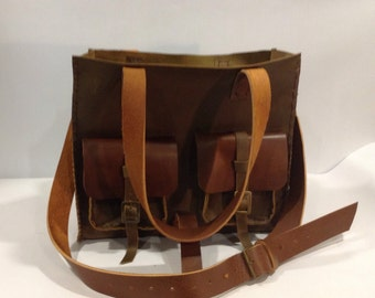 Leather Tote Bag/Rustic Brown Leather Tote Bag/Ladies Tote Bag/Large Handbag