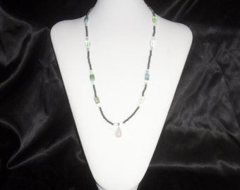 Brown, White, and Green Necklace.