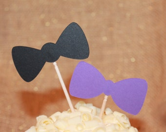 10 Bow and Bowtie Gender Reveal Cupcake Picks - Appetizer Picks - You Pick Colors
